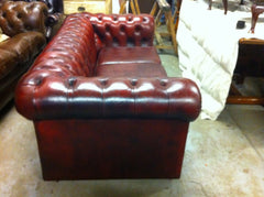 Lovely Late 1970's Vintage Hand Dyed Oxblood Leather 3 seater Chesterfield Sofa