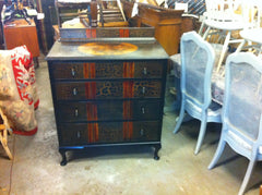 298...Decorative 1930'S Art Deco Chest Drawers With Black And Walnut Painted Finish