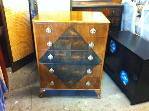 305.....Vintage 1960's Decorative Walnut Chest drawers