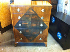 Vintage 1960's Decorative Walnut Chest drawers