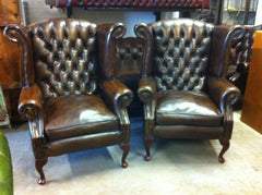"Gorgeous Pair Thomas Lloyd Hand Dyed ""Antique"" Brown Leather Chesterfield Chairs"