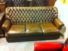"297.....Gorgeous Hand Dyed ""Antique"" Brown Vintage Leather Chesterfield High Back Sofa"
