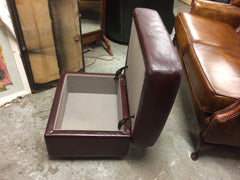 394.....Vintage Retro Dark Red Leather Storage Ottoman / Stool