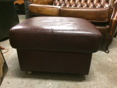 Vintage Retro Dark Red Leather Storage Ottoman / Stool