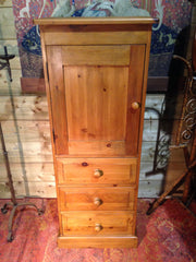 212.....Vintage Pine Tallboy / Pine Media Cabinet On Chest