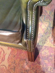 206.....Vintage Leather Chesterfield Style Wing Armchair / Vintage Green Library Chair