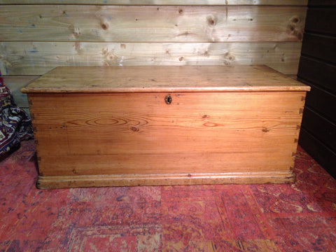 201.....Victorian Pine Storage Chest / Rustic Antique Blanket Box