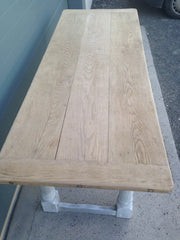 207.....Stunning Vintage Large Oak Top Dining Table / Scrub Top Farmhouse Table ( SOLD )