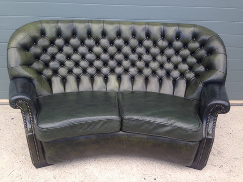 187.....Handsome Curved Two Seat Chesterfield Leather Sofa ( SOLD )