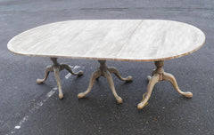 LARGE VINTAGE BLEACHED MAHOGANY TRIPLE PEDESTAL DINING TABLE SALE PRICE