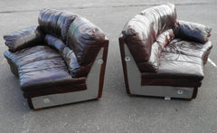 "Gorgeous Huge ""Antique Brown"" Vintage Leather Corner Settee"