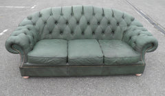 Vintage Green Scrubbed Leather Camel Back Chesterfield Sofa.