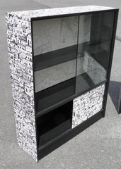 Upcycled Pair of Retro Glass Door Bookcases By Herbert E Gibbs, London