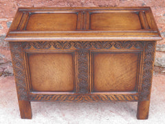Vintage Carved Oak Coffer
