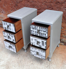 A Pair Of Vintage Upcycled Bedside Chests / Bedside Cabinets