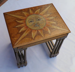 Solid Oak Hand Decorated Nest Of Tables