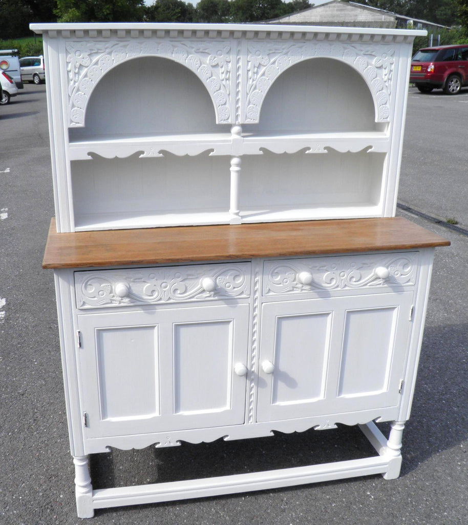 Vintage Carved Oak Cottage Style Dresser or Sideboard.