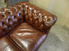 218 Vintage Brown Leather Chesterfield 3 Seat Sofa