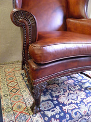 BEAUTIFUL EDWARDIAN LEATHER WING BACK ARMCHAIR