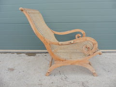 407.....Lovely Faded Vintage Plantation Chair / Caned Armchair