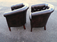 Pair Of Leather Chesterfield Club Chairs