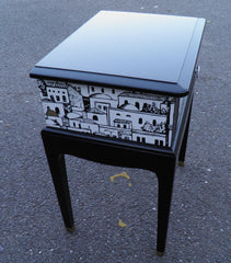 Pair Of Vintage Bedside Tables With Fabulous Fornasetti Decoration