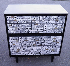 Retro Chest Of Drawers With Fabulous Fornasetti Decoration