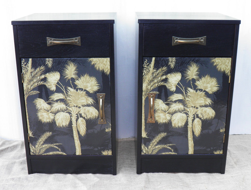 A Pair Of Vintage Retro Bedside Cupboards / Pot Cupboards