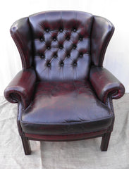 Lovely Pair Of Vintage 1980's Leather Chesterfield Wing Armchairs