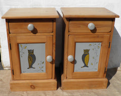 A Pair Of Vintage Solid Pine Bedside Cabinets