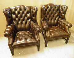 Pair Vintage Leather Wing Back Armchairs