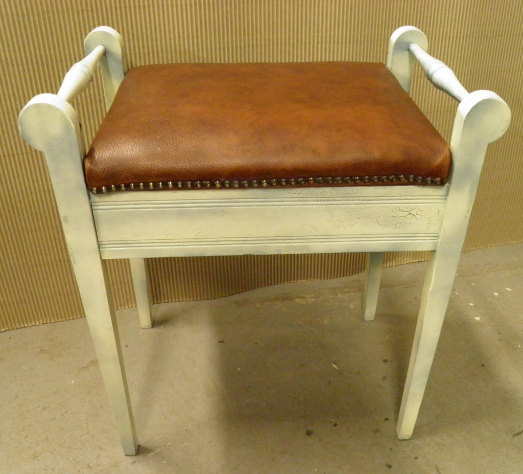 Vintage Shabby Chic Style Leather Upholstered Piano Stool