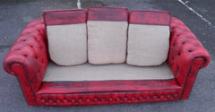 Vintage Red Leather 3 Seater Chesterfield Sofa
