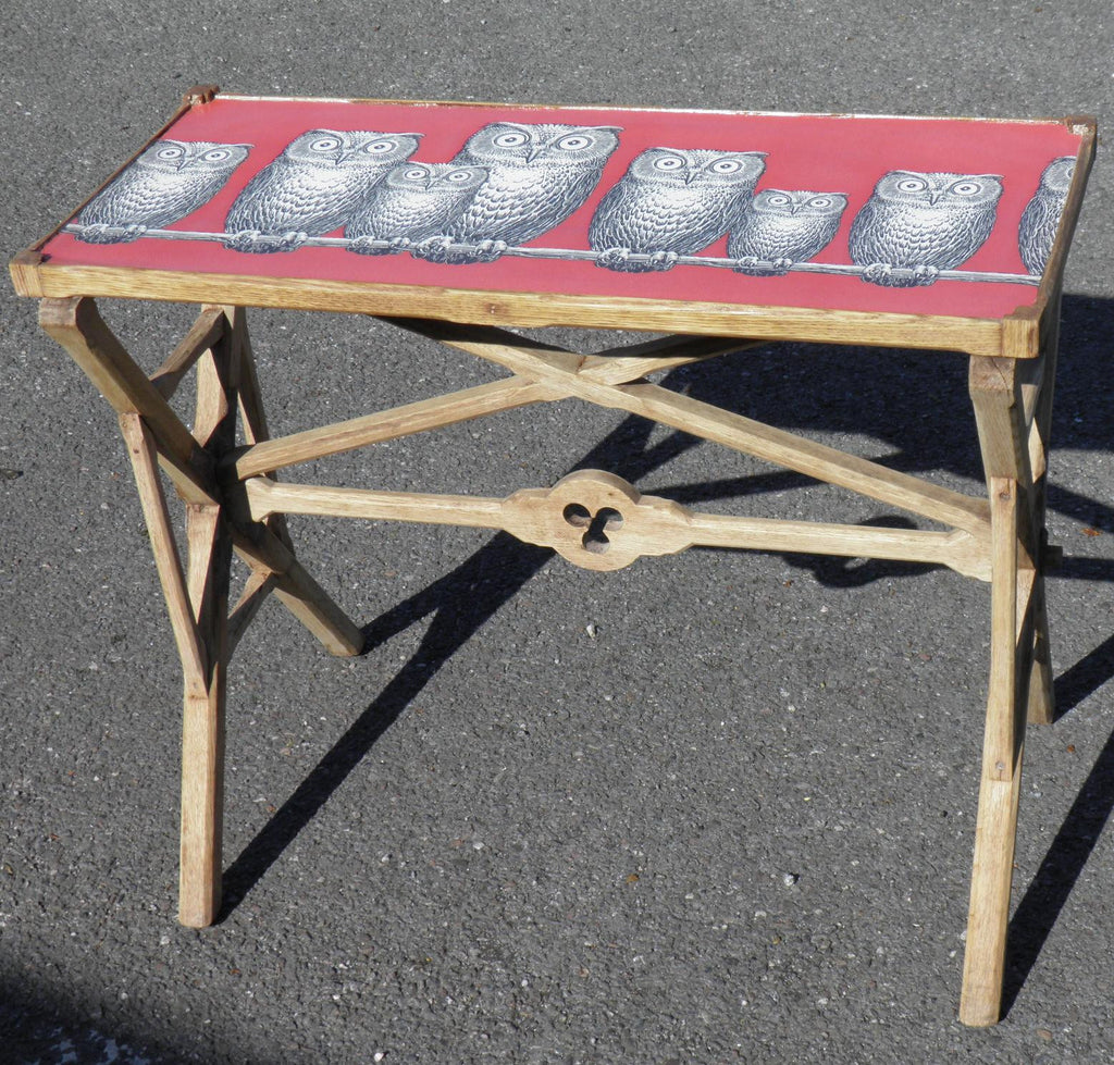 19th CENTURY GOTHIC BLEACHED OAK AND DECOUPAGE TRAY / TABLE