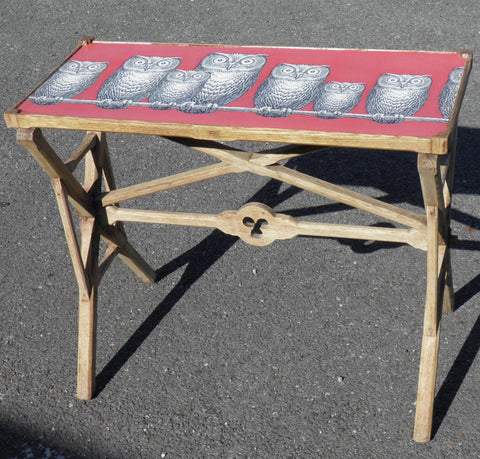 A 19th CENTURY GOTHIC BLEACHED OAK AND DECOUPAGE TRAY / TABLE