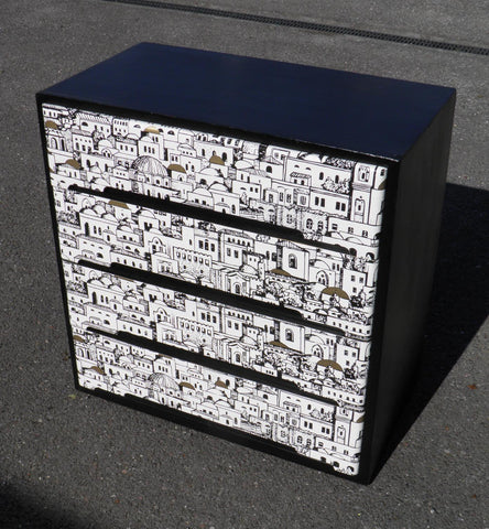 RETRO FORNASETTI DECOUPAGE CHEST OF DRAWERS BY CENTA