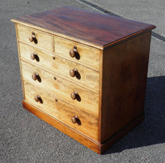 ANTIQUE FADED MAHOGANY CHEST OF DRAWERS