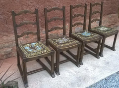 Set Of 4 Arts And Crafts Oak Chairs
