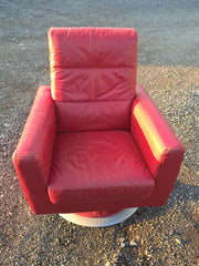 129...Retro Style Leather Swivel Armchair