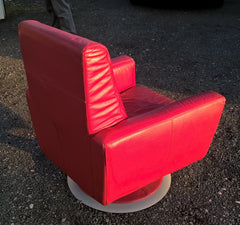Retro Style Leather Swivel Armchair