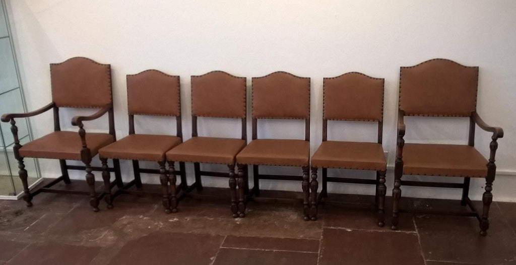 Set Of Six Vintage Oak Dining Chairs
