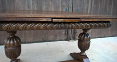 Vintage Large Solid Oak Drawleaf Dining Table