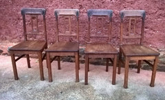 Set Of Four Solid Oak Arts And Crafts Style Dining Chairs