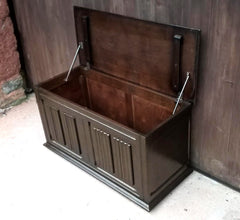 Vintage Blanket Box With Linen Fold Decoration