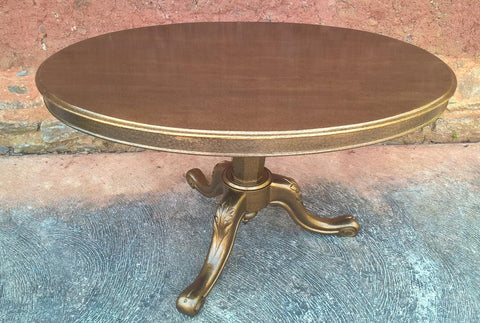 172....Upcycled Antique Mahogany Dining Table On Carved Tripod Base