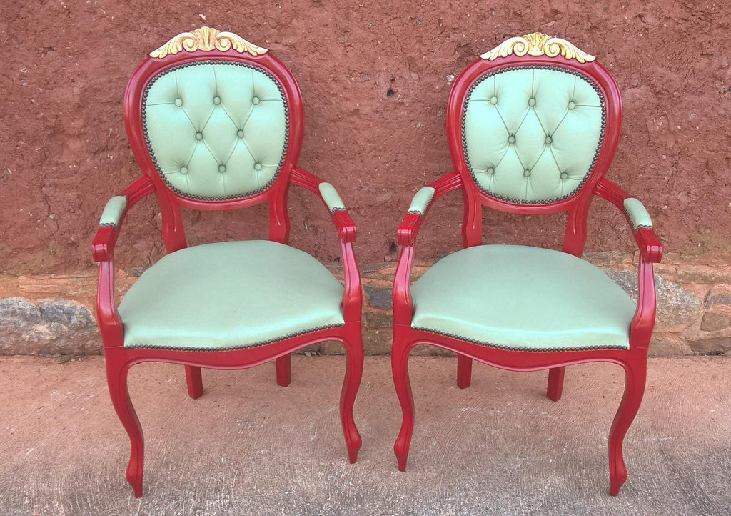 Pair Of French Style Armchairs / Carver Chairs