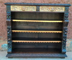 Magnificent Carved Oak Bookcase !