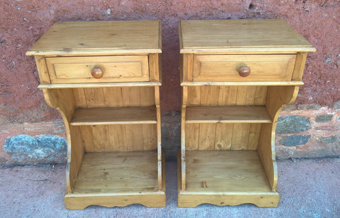 An Unusual Pair Of Pine Bedside Tables / Lamp tables