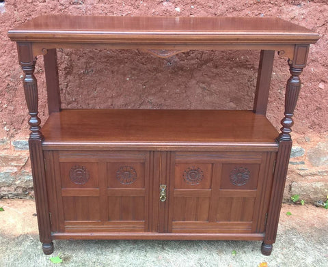 190.....Handsome Arts and Crafts Solid Walnut Buffet / Serving Table