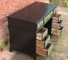 Stunning Vintage Upcycled 9 Drawer Pedestal Desk